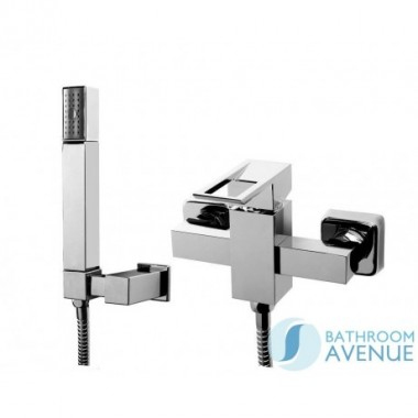 Square shower mixer tap with handset Orchid