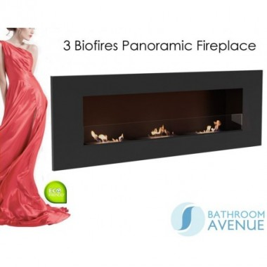 Panoramic bio ethanol fireplace with 3 inserts