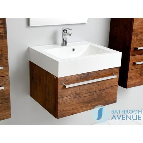 1 drawer wall mounted vanity unit antique wood Giuseppine - Vanity Unit Antique Wood With Resin Wash Basin Giuseppine