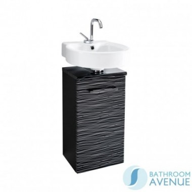 Compact Vanity Unit Black With Silver Stripes Tramonto