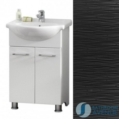 Contemporary Vanity Unit Black With Silver Stripes Tramonto