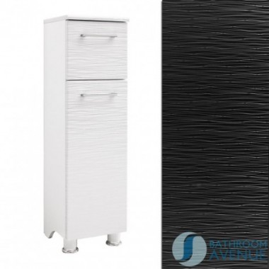Freestanding Laundry Hamper Cabinet Black & Silver Stripes Tramonto