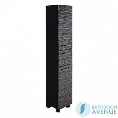 Laundry Hamper Tall Cabinet Black & Silver Stripes Tramonto