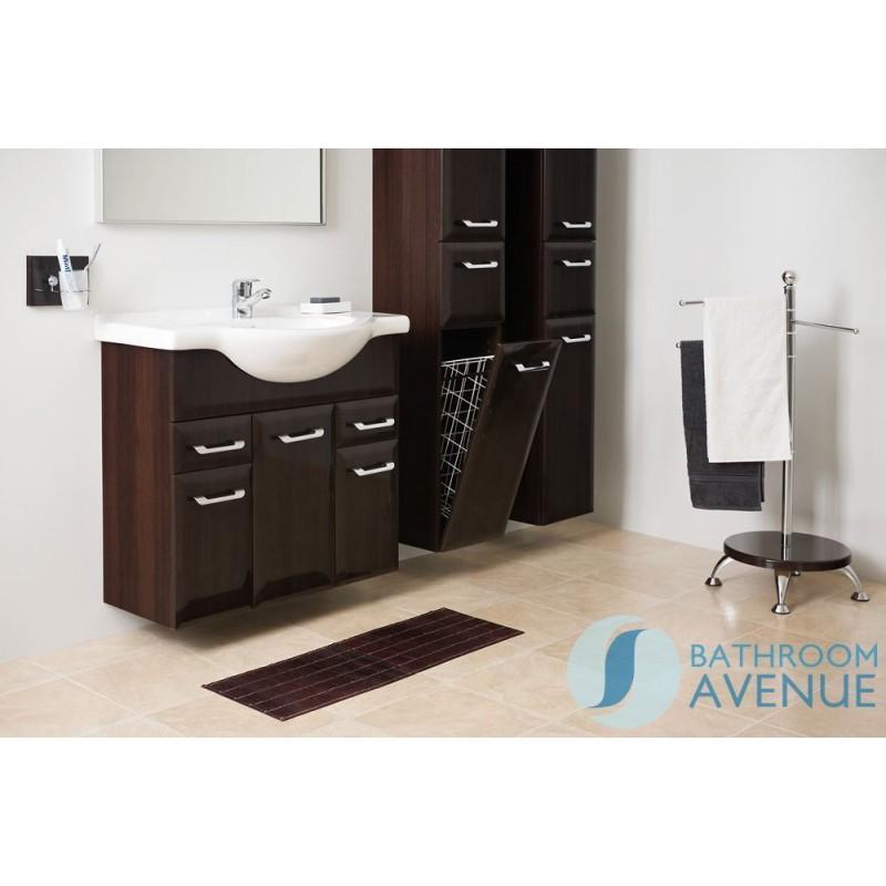 Wenge Bathroom Laundry Hamper Cabinet Tall Bibiana