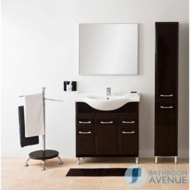Bathroom Laundry Hamper Cabinet Tall Gloss Wenge Bibiana