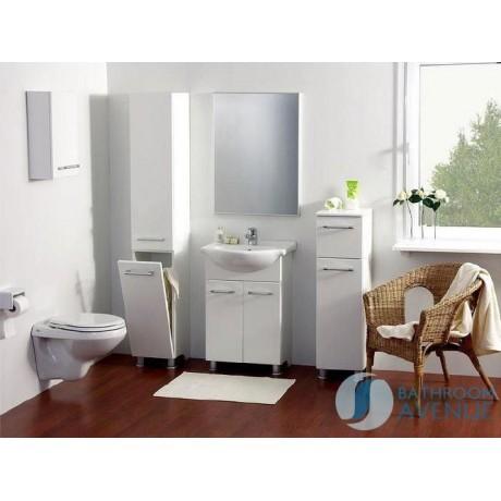 . Freestanding Bathroom Tall Storage Unit and Linen Basket White Marea