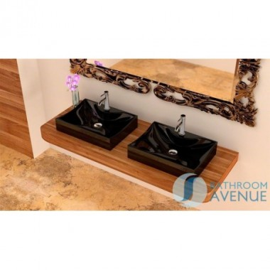 Rectangular Counter Top or Wall Hung Basin Giustina Black