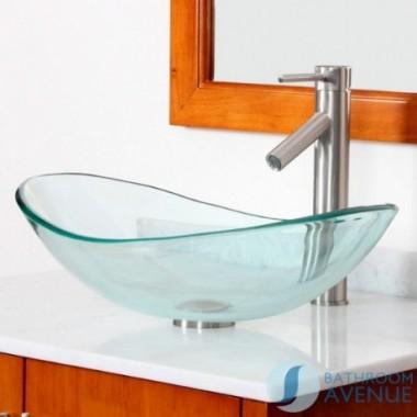 Modern Glass Wash Basin Oval Clear