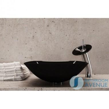 Glass Wash Basin Square Black