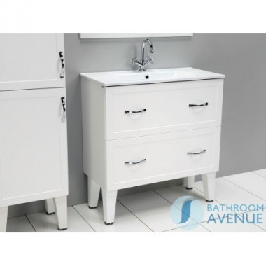 Traditional Vanity Unit Double Drawer White Classico