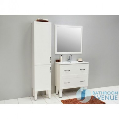 Traditional Freestanding Tall Bathroom Cabinet White with Double Door Classico