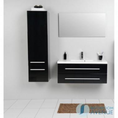 Modern tall bathroom storage unit black Francesca