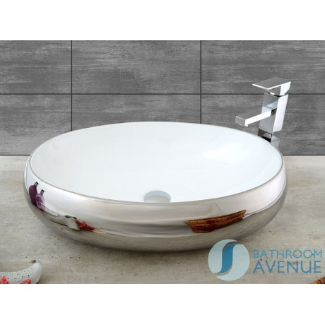 Contemporary Counter Top Wash Basin Oval Silver Simona